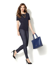 IMAN Global Chic Slip into Slim Denim Pant with Matching Top Indigo 10S NWT