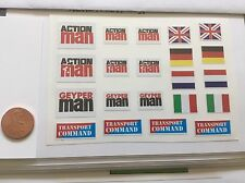 Action Man Geyper Man GI Joe Decals. Die Cut! Free Shipping