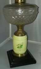 Lovley Antique Hand Painted Custard Glass Oil Lamp: Floral Pattern