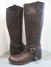 Frye Rich Dark Brown Wrap Around Adjustable Strap Tall leather Boots Edgy