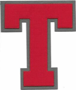 """6"""" inch Tall Red Grey Block Letterman's Letter T Felt Patch"""
