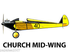Model Airplane Plans (FF/RC): 1928 Church Mid-Wing 1/6 Scale for .10 (1.5-2cc)