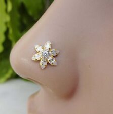 Indian Nose Ring Cubic Zirconia Nose Piercing Flower Nose Stud Gold Nose Jewelry