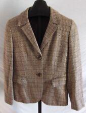 Lafayette 148 Brown Gold metalic Plaid Cotton Blend Boucle Jacket Blazer Size 6