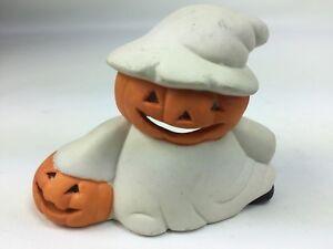 Vintage Ceramic Halloween Ghost Pumpkin Candle Holder 1980s Fall decoration