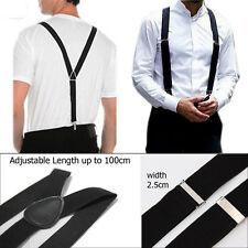 Black 25mm Unisex Mens Men Braces Wide & Heavy Duty Suspenders Adjustable UK