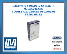 SACCHETTI DLS01 5 SACCHI + MICROFILTRO 5519210181 DE LONGHI ORIGINALE