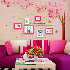 Art Mural Huge Two Pink Cherry Blossom Flower Tree Wall Sticker Home Decor Decal
