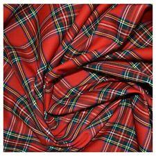 "Royal Stewart Tartan Polyviscose Fabric 58"" Scottish Fashion Plaid Check - Metre"