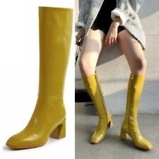 Ladies Solid Block Heel Square Toe Leather Mid Calf Knee High Riding Boots 34-39