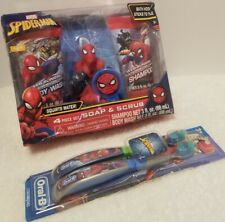 Marvel Spider-Man 4 Piece Set Soap & Scrub New Ages and Toothbrush Set 2 Pierce