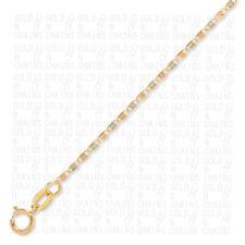 14k Solid TRI-Color Gold Chain Necklace 18 inch TRI-Color STAR Valentino (GNC)