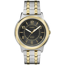 Timex Bank Street Men's Two Tone Steel Black Dial Indiglo Watch TW2P61900 NEW