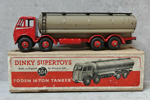 Dinky Toys 504 Foden 14 Ton Tanker Red / Fawn Buff Box all Original