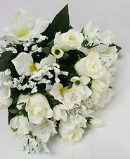 ARTIFICIAL FLOWERS ROSEBUD AND ALSTRO BUNCH 18 STEMS WHITE