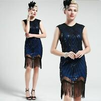 US STOCK 1920s 20s Black and Blue Flapper Beaded Fringed Great Gatsby Dress