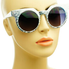 Cool Silver Print Designer High Fashion Retro Vintage Style Round Sunglasses
