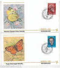 1985-2X FDC 1°JOUR-SUISSE-TIMBRE EUROPA CEPT-MUSIQUE PAPILLON-Yt.1223/4