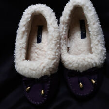 CHAPS Womens House Slippers Indoor Shoes purple sherpa Size med 6 1/2-7 1/2
