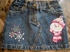 girls TALBOTS KIDS denim jean SKIRT snowman snow FANCY adjustable waist SIZE 2T