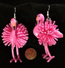 Huge Funny--PINK FLAMINGO EARRINGS--Luau Beach Party Tropical Bird Funky Jewelry