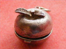 VINTAGE STERLING SILVER CHARM APPLE OPENS TO ADAM AND EVE