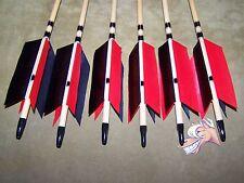 6 New Cedar Wood Traditional ARCHERY RED AND BLACK   Arrows   FLU-FLU 50/55