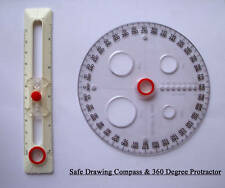 Safe Drawing Compass & 360 Degree Protractor