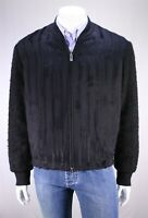 New! ERMENEGILDO ZEGNA Couture Current Black Alpaca Fur Bomber Jacket 40/Medium
