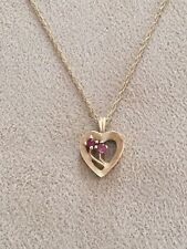 14k YELLOW GOLD RUBY FLOWER HEART PENDANT NECKLACE 2.3g 20 INCHES ESTATE FIND!!