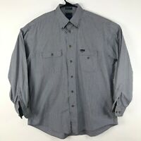 Faconnable Mens Size Large Button Front Long Sleeve Dress Shirt Blue Brown