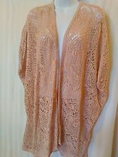 NEW WITH TAGS Chico's Lacey Stitch Cardigan Sweater Jacket Blush L/XL Travelers