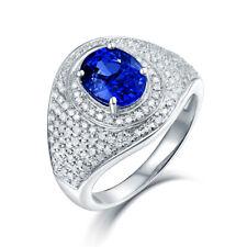 14K White Gold Brilliant Diamond Engagement Wedding Tanzanite Ring Women Jewelry