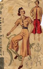 Rare ORIGINAL 1930's 30s Culotte Dress Wide Trousers Pants Sewing Pattern S2307