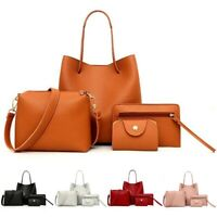 4Pcs/set Women Leather Handbag Shoulder Bag Tote Purse Messenger Satchel Clutch