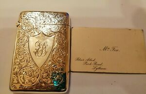 1908 CHESTER Smith & Bartlam sterling silver calling card case - 45 gms
