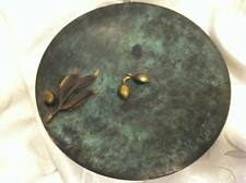 """VINTAGE """"OLIVE BRANCH"""" PAL BELL DECORATIVE BRASS PLATE TRAY ISRAEL 1950'S"""