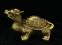 Decor Chinese Fengshui Brass golden Lucky Wealth Dragon tortoise Turtle Statue