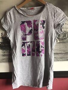 PUMA Womens T-Shirt Top UK 12 Medium Grey Cotton