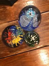 "3 Vintage Murano Mixed Glass Paperweights Small 3.75"" 3"" & 2"""