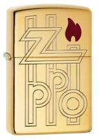 Zippo Armor High Polished Brass Abstract Logo Windproof Pocket Lighter, 169-0...