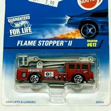 1997 Hot Wheels Blue Card Collector #617 Flame Stopper II Red w 5sp Fire Truck