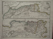 1850 SPRUNER ANTIQUE HISTORICAL MAP ~ MAURETANIA NUMIDIA AFRICA ALEXANDRIA