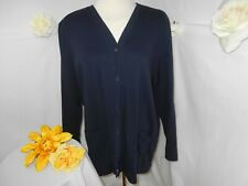 Lands End Tunic Length Sweatshirt(100% Cotton)/Navy~18-20~