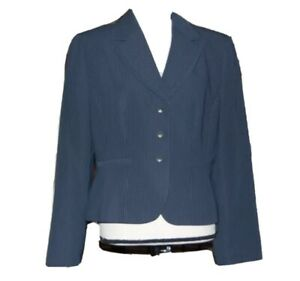 Tahari By ASL Women Blazer Blue Pinstripes 3 Buttons Career Work Wear Petite 14P