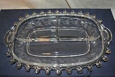 """Heisey Lariat Moonglo Etched Pomegranates/Leaves 3 Part Dish/Handled Tray-12.25"""""""