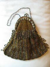 Antique Art Nouveau Gold Daisy Filigree Frame Brown Copper Iridescent Bead Purse