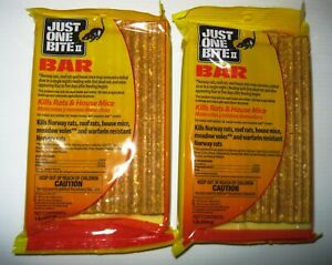 (2) 1 Lb Bars Just One Bite II Rodent Poison Rat Mouse Mice FREE Priority Mail!