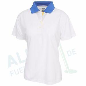 Page & Tuttle Funktions-Polo für Damen, Kurzarm, weiß / blau, Größe L (D 40)