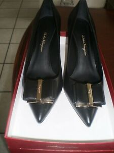Salvatore Ferragamo Zeri Mid-Heel Leather Bow Pumps.  Size 10 B.